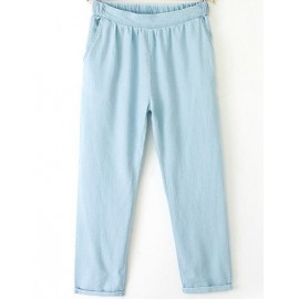 Loose Fit Roll Hem Jeans with Twins Slanted Pockets Size:S-L