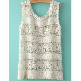 Saucy Crocheted Tank Top with Scalloped Edge