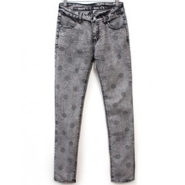 Regular Fit Washed Jean with Polka Dots Print Size:S-XL