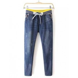 Loose Bleached Ripped Drawstring Denim Pants Size:S-XL