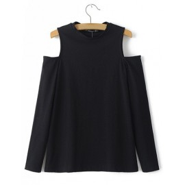 Classic Cut-Out Shoulder Crew Neck Tee in Pure Color