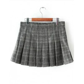 Classic High Waist A-Line Pleat Skirt in Wool Size:S-L