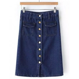 Street Single-Breasted Denim Skirt with Flap Pocket Size:S-L