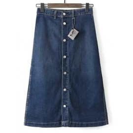 Modern Single-Breasted Denim Skirt in Floral Embroidery Size:S-2XL