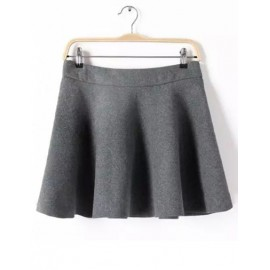 Trendy Pure Color High-Rise Basic Skirt with Flare Hem Size:S-L