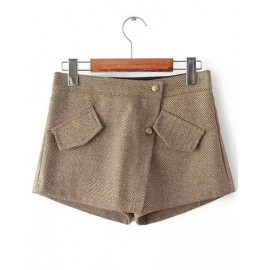 Beauty Pockets Embellished Wool Shorts in Twill Size:S-XL