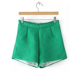 European Geometric Jacquard Pleated Shorts in Solid Color Size:S-L