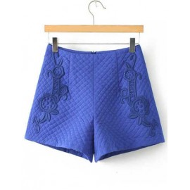 European Rhombus Pattern High-Waist Shorts with Floral Embroidery Size:S-L