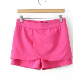 Trendy Tiered Trim Pure Color Shorts with Zip Back Size:S-L