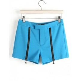 Simplicity Double Zip Front Shorts in Pure Color Size:M-L