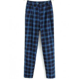 Stylish Checked Peg Pants with High Waist Size:S-L