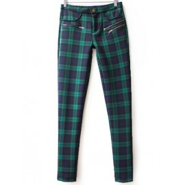 Trendy Plaid Casual Pants with Zippers Detail Size:S-XL