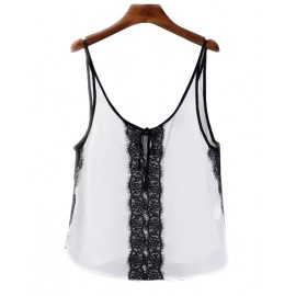 Gorgeous Monochrome Lace Panel Spaghetti Top with Knot Front