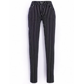 Classic Vertical Printed Skinny Pants with Single Button Size:S-XL