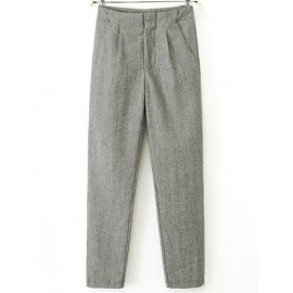 Classic Pleated Detail Pants with Slanted Pockets Size:S-XL