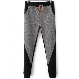 Color Blocked Drawstring Waist Sweat Pants with Cuffed Buttom Size:S-L