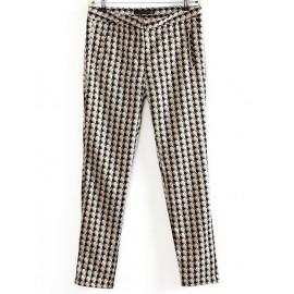 Trendy Houndstooth Printed Pants in Slim Fit Size:S-L