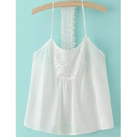 Charming Lace Panel Spaghetti Top in Pure Color