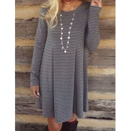 Classic Stripe Printed Round Neck Tee with Pleat