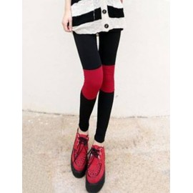 Prevalent Elastic Waistband Skinny Leggings in Contrast Color Size:M-L