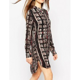 Vintage Style Long Sleeve Abstract Printed Shirt Dress with High-low Hem