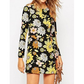 Vintage Long Sleeve Fitted Dress in Floral Print