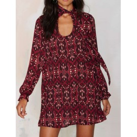 Vintage Printed Cut Out Front Long Sleeve Chiffon Dress with Scarf Knot
