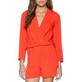 Sexy Wrap Trim Long Sleeve Playsuit in Pure Color Size:S-L