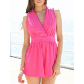Sexy Wrap Trim High-Rise Playsuit in Cross Strap Size:S-L