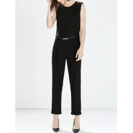 Chic Belted Sleeveless Jumpsuits in Zipper Back Size:S-L