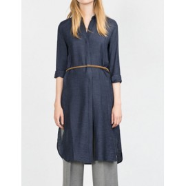Concise Waist Belt Longling Shirt with Splitted Detail Size:S-2XL