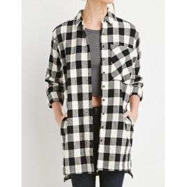Classical Checked Patch Pocket Shirt in High Low Hem Size:M-XL
