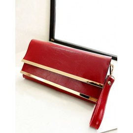 Fashionable Layered Flap Clutch Bag with Metal Bar