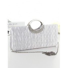 Metal Round Handled Wrinkle Evening Bag with Chain Shoulder