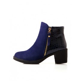 Comfortable Chunky Heel PU Panel Ankle Boots in Zipper Size:34-39