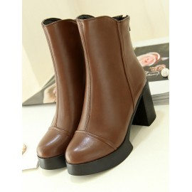 England Platform Chunky Heel Boots in Round Toe Size:34-39