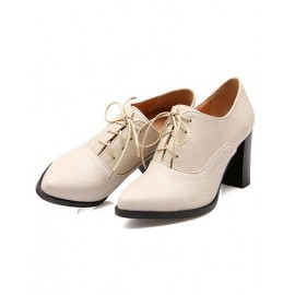 Boyfriend Point Toe Lace Up Shoes in Chunky Heel Size:34-39