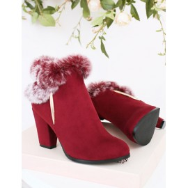 Noble Point Toe Chunky Heel Ankle Boots in Fur Detail Size:34-39