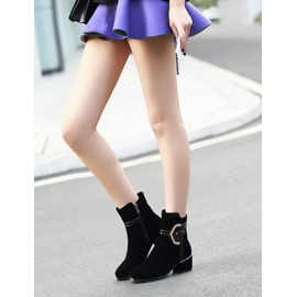 Cool Round Toe Chunky Heel Boots in Metal Detail Size:34-39