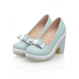 Lolita Bowknot Platform Chunky Shoes in Color Block Size:34-39