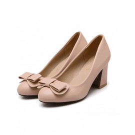 Basic Sweet Round Toe Bowknot Shoes in Chunky Heel Size:34-39
