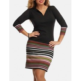Relaxed Stripe Printed Color Panel Long Sleeve Dress in Black
