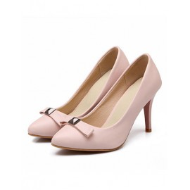 Basic Point Toe Pure Color Heels in Bowknot Trim Size:34-39