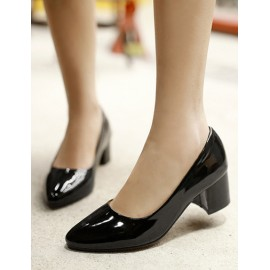 Lovely Point-Toe Chunky Heel Shoes in Pure Color Size:34-39