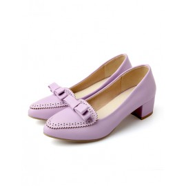 Preppy Point Toe Bowknot Shoes in Chunky Heel Size:34-39