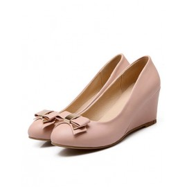 Smart Round Toe Bowknot Shoes in Wedge Size:34-39