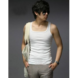 Simple Pure Color Tank Top with Square Neckline For Men