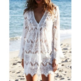 Seductive V Neck Bell Sleeve Lace Dress in White