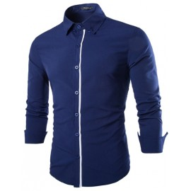 Solid Color Skinny Shirt with Contrast Trim