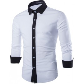 Contrast Button Placket Skinny Shirt with Long Sleeve